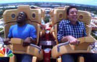 "Jimmy Fallon & Kevin Hart ride ""Hollywood Rip, Ride, Rockit"" rollercoaster"
